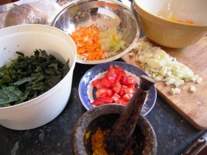 Chopped veg and Colombo spice mix