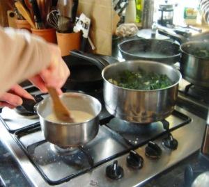 Stirring the white sauce