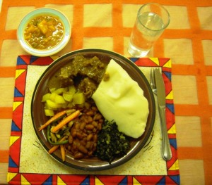 lamb - pap - beans - veg at Yoggata Mini Kitchen