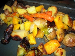 Roasted pumpkin and other vegetables