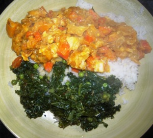 Pumpkin, kale and chicken curry