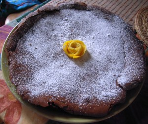 Belgian chocolate cake with lemon-peel rose